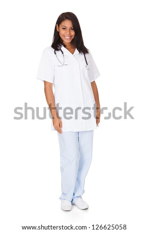 Happy Female Doctor. Isolated On White Background