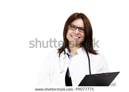 happy female doctor wit a clipboard on white background
