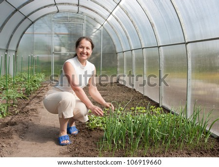 Happy female farmer near onion-bed  in hothouse