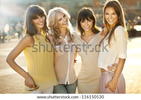 Happy female friends