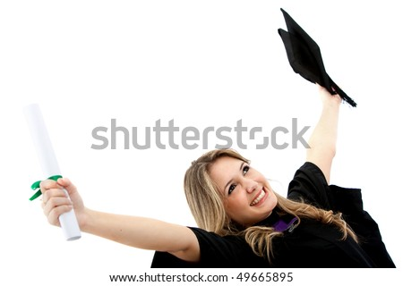 Happy female graduate holding her diploma and smiling isolated over a white background