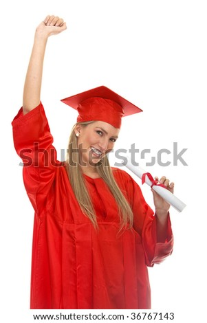 Happy female graduate isolated over a white background