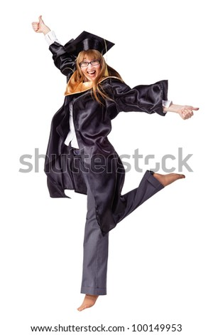 Happy female graduate jumping and smiling. Isolated over white