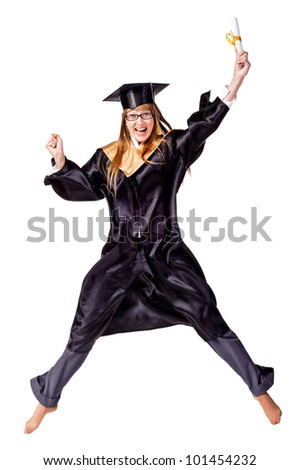 Happy female graduate jumping isolated over a white background