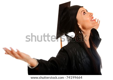 Happy female graduate with arms up - isolated over white - stock photo