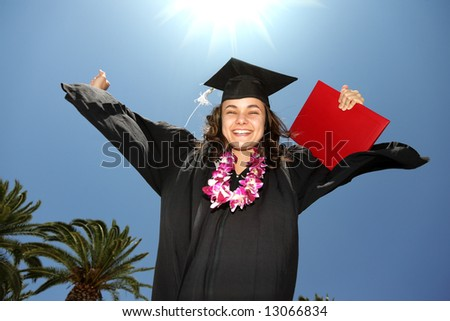 Happy female graduate with diploma over blue sunny sky