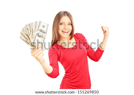 Happy female holding US dollars and gesturing happiness isolated on white background