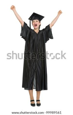 Happy female student celebrating graduation. HQ photo. Not oversharpened. Not oversaturated