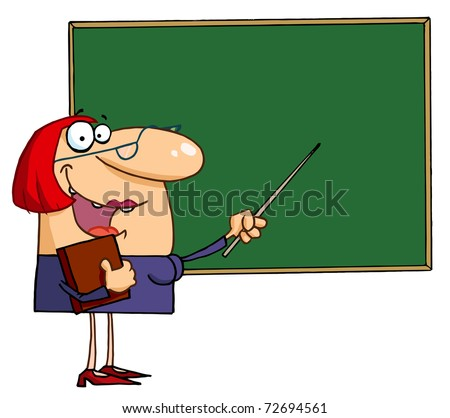 Happy Female Teacher Pointing To A Chalkboard