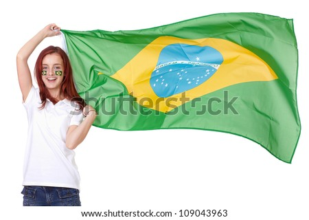 Happy female with Brazil flags on her cheeks, isolated on white - stock photo