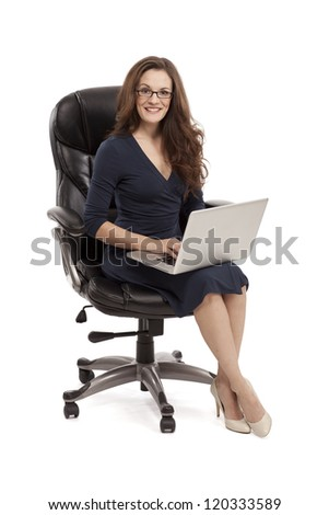 Happy female with her laptop