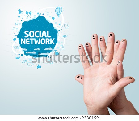 Happy finger smileys with social network sign
