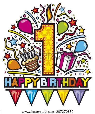 happy first birthday design (happy birthday party, happy birthday label, birthday card)