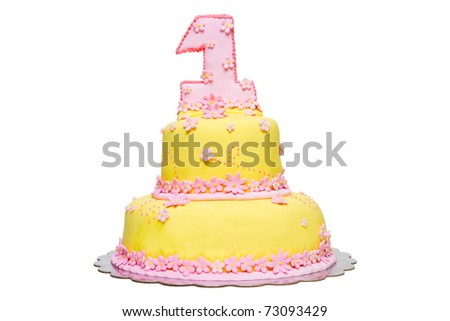 Happy First Birthday Yellow Fondant Cake decorated with pink flowers on a white background