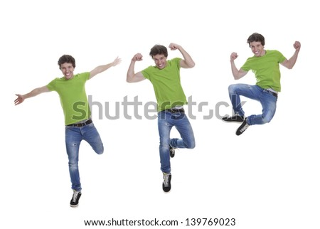 happy, fit, healthy confident smiling teen jumping