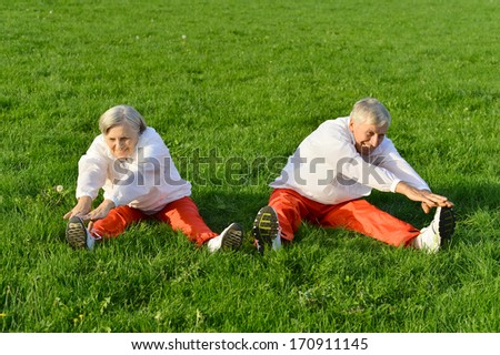 Happy fit senior couple exercising in summer park