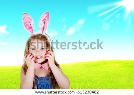 happy five-year-old girl with Easter eggs #613230482