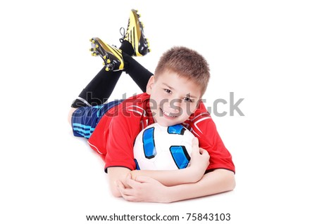 Happy football player with a ball on white background