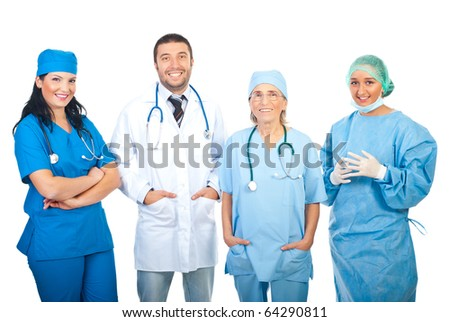 Happy four hospital doctors standing in a row isolated on white background
