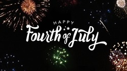 Happy Fourth of July Typography with Fireworks in Night Sky