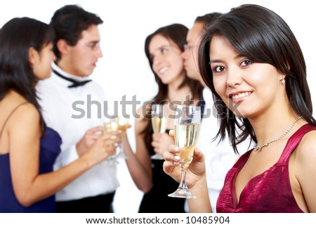 happy friends at a party drinking champagne isolated over a white background