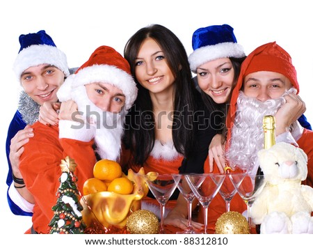 Happy friends celebrate xmas