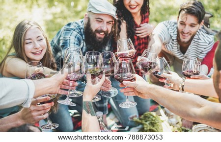 Happy friends cheering with red wine at picnic barbecue outdoor - Young people having fun while drinking, eating and relaxing - Focus on center glasses - Youth lifestyle and friendship concept