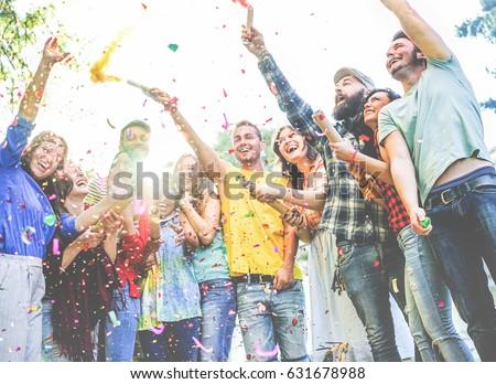 happy friends enjoying party...
