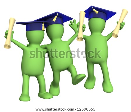 Happy friends schoolfellows with diplomas. Object over white