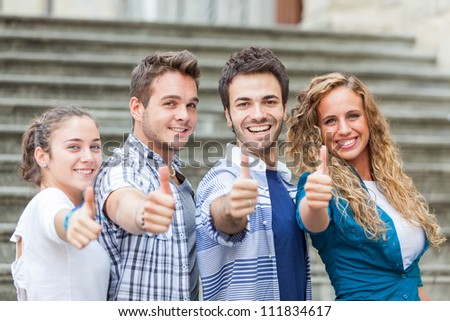 Happy Friends with Thumbs Up