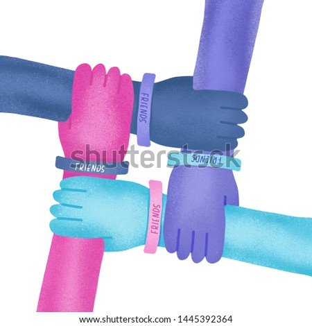 Happy friendship day illustration.Colorful four hands crossed together on white background.Textured illustration of international friendship.Holiday of togetherness, unity and having fun with friends.