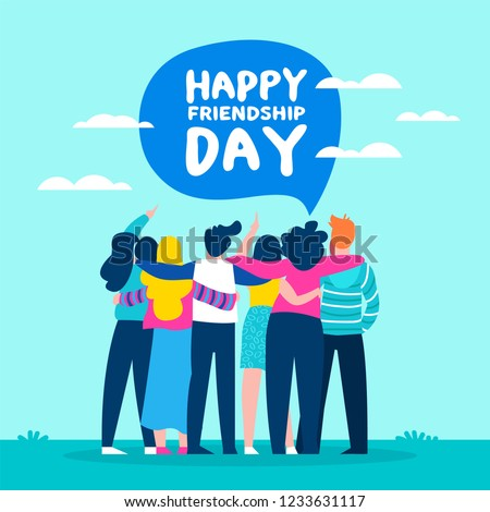 Happy friendship day illustration with diverse friend group of people hugging together for special event celebration.