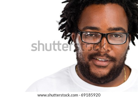 happy funny african american man headshot over white in studio