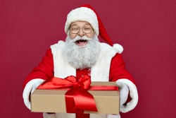 Happy funny old bearded Santa Claus wears costume holds present, Merry Christmas giftboxes wrapped with red ribbon, laughing giving gift box having fun isolated on red xmas background.