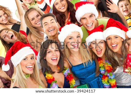 Happy funny people. Christmas party
