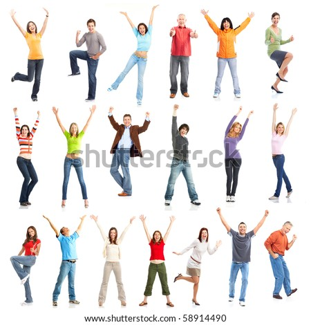 Happy funny people. Isolated over white background #58914490