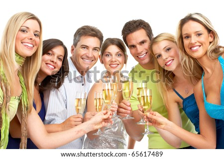 Happy funny people with champagne. Isolated over white background