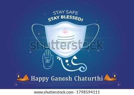Happy Ganesh Jayanti and god Ganesha Chaturthi festival celebration with face mask. editable vector illustration