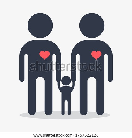Happy gay family icon. Gay man icon. Gay couple. Conceptual image of gay love. Objects isolated on a white background. Flat illustration.