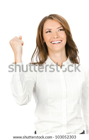 Happy gesturing young cheerful smiling business woman , isolated over white background