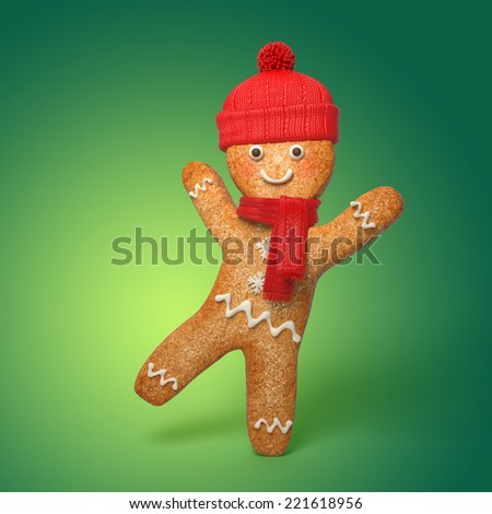 happy gingerbread man illustration 3D cookie Christmas cartoon character