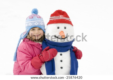 Happy girl and snowman