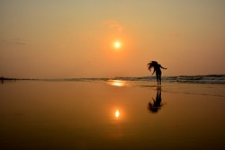Happy Girl Drance at seaside, India, Puri | Happiness | Success | silhouette photography