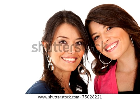 Happy girl friends smiling - isolated over a white background