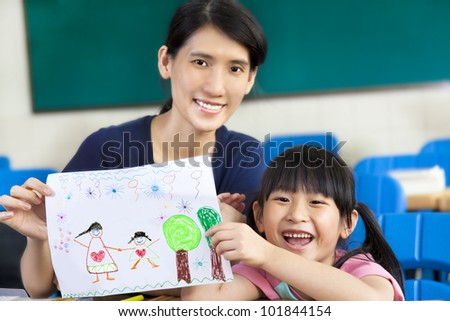 happy girl giving mother a drawing for mother's day
