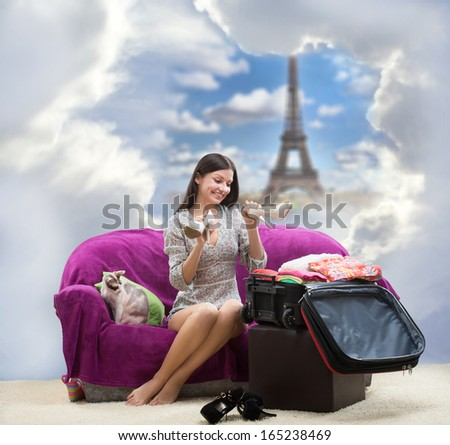 Happy girl going to Paris