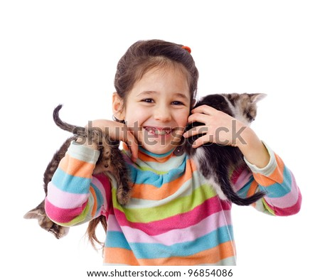 Happy girl is holding a two runaway kittens, isolated on white