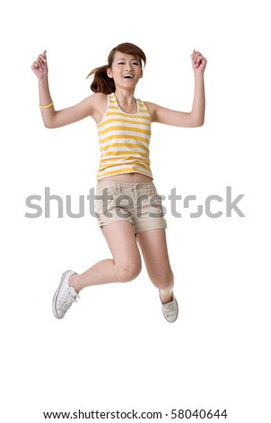 Happy girl jump, full length portrait isolated on white background.