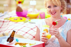 happy girl on summer picnic party