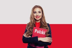 Happy girl on the Poland flag background. Travel and learn polish language concept. Book with inscription polish on polish language